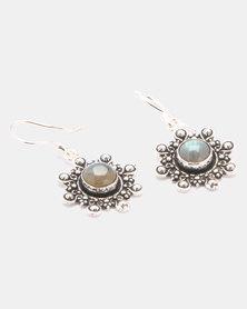 Lily & Rose Brass Amethyst Long Drop Earrings Silver-Plated