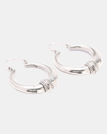 Lily & Rose Brass Linear Lattice Work Earrings Silver-Plated