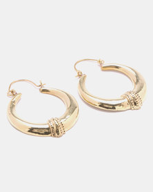 Lily & Rose Brass Linear Lattice Work Earrings Gold-tone