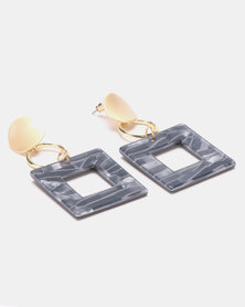Lily & Rose Resin Square Drop Earrings Gold-plated