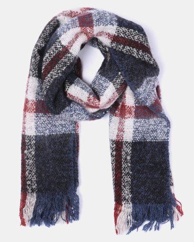 Lily & Rose Checkered Tassel Blanket Scarf Multi