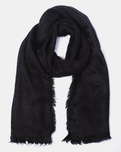 Lily & Rose Soft Tassel Edge Blanket Scarf Black
