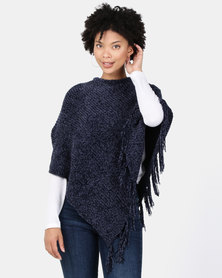 Lily & Rose Woolen Tasseled Poncho Blue