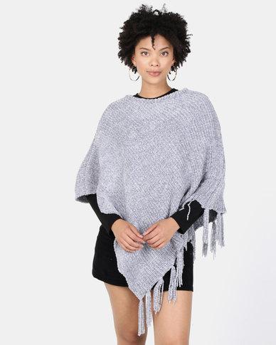 Lily & Rose Woolen Tasseled Poncho Grey