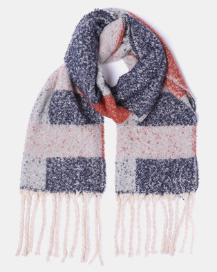 Lily & Rose Dark Soft Woolly Large Scarf Multi