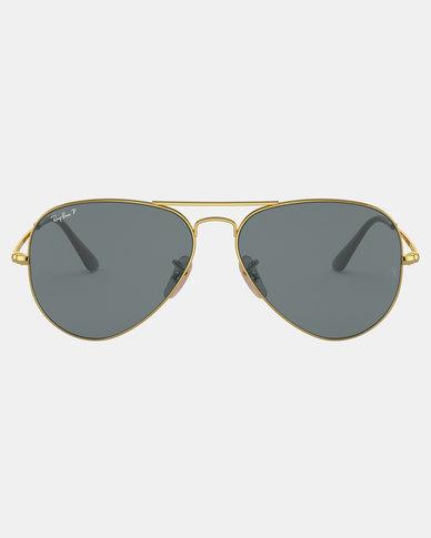 Ray-Ban Polarized Aviator Sunglasses Gold