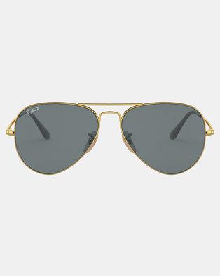 bee845042f Ray-Ban Polarized Aviator Sunglasses Gold
