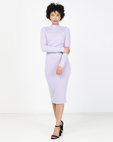 Brett Robson Liya Long Sleeve Turtleneck Dress Purple