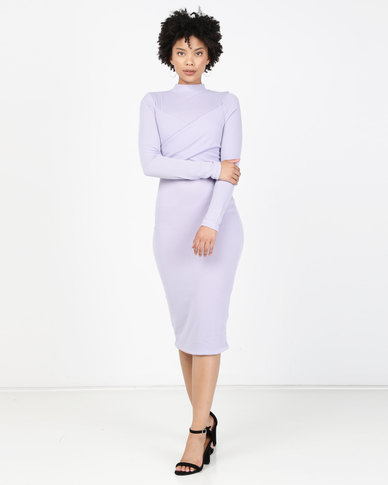 Brett Robson Liya Long Sleeve Turtleneck Dress Purple