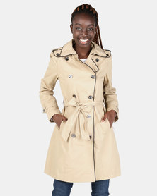 Miss Cassidy Piped Classic Trench Woven Coat Stone