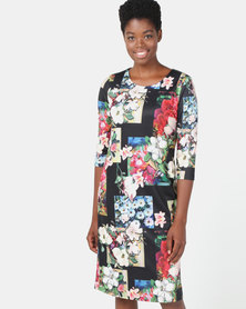 cath.nic By Queenspark Graphic Botanical Knit Dress Multi