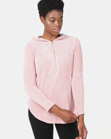 cath.nic By Queenspark Chenille Hooded Zip Knitwear Top Pink