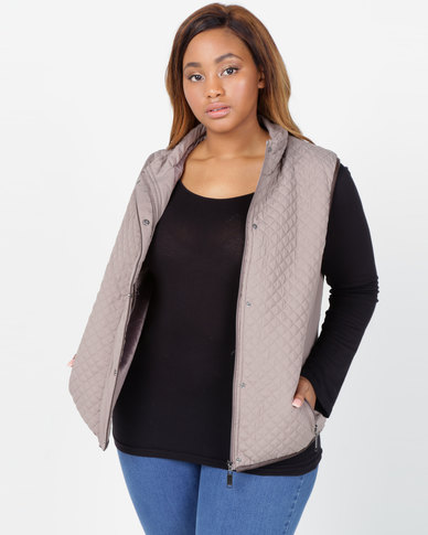 Queenspark Plus Collection Piped Puffer Gilet Woven Jacket Mocha