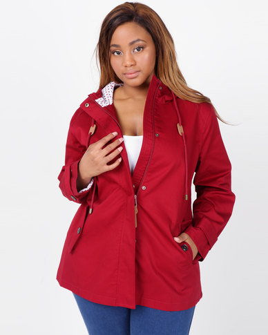 Queenspark Plus Collection Parka Woven Jacket Red