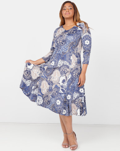 Queenspark Plus Collection 3/4 Mosiac Fit & Flare Kit Dress Blue