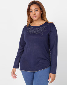 Queenspark Plus Collection Flower Zip Knitwear Navy