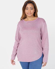 Queenspark Plus Collection Flower Zip Knitwear Pink