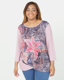 Queenspark Plus Collection 3/4 Sleeve Layered Top Pink