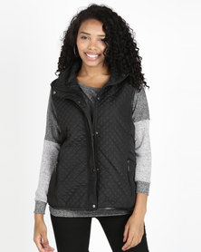 Queenspark Piped Puffer Gilet Woven Jacket Black