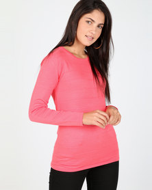 Queenspark Ottoman Core Knitwear Jersey Coral