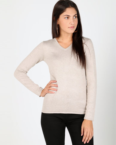 Queenspark V-Neck Melange Core Jersey Natural