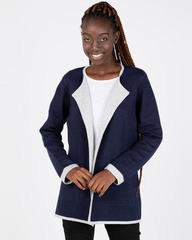 Queenspark Feminine Knitwear Coatigan Navy