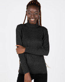 Queenspark Core Melange Turtleneck Jersey Charcoal