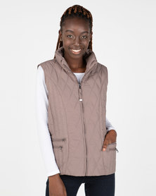 Queenspark Ladies Woven Quilted Zip Through Sleeveless Gilet Mocha