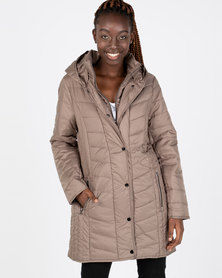 Queenspark Quilted Zip Through Woven Puffer Jacket Taupe