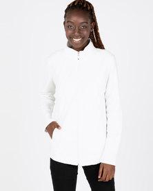 Queenspark Long Sleeve Quilted Zip Through Fleece Jacket Cream