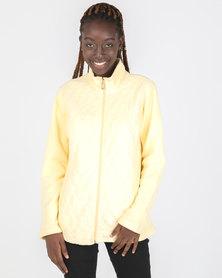 Queenspark Long Sleeve Quilted Zip Through Fleece Jacket Yellow