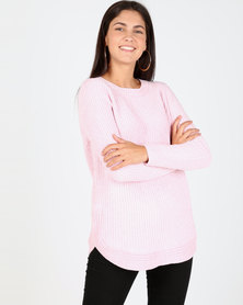 Queenspark Chenille Long sleeve Crewneck Knitwear Pink