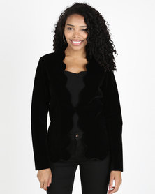 Queenspark Velvet Scalloped Woven Jacket Black