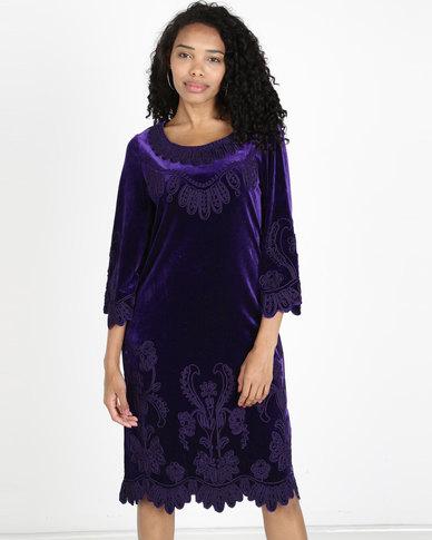 Queenspark Princess Zara Cornelli Velvet Knit Dress Purple ...