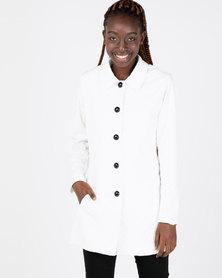 Queenspark Zigzag Knit Coat Cream