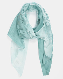 Queenspark Two Tone Burnout Scarf Green