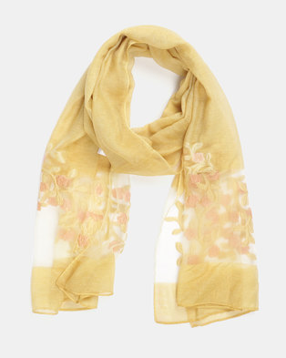 Queenspark Embroidered Organza Scarf Yellow