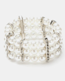 Queenspark 3 Row Pearl and Diamante Stretchie Bracelet Cream