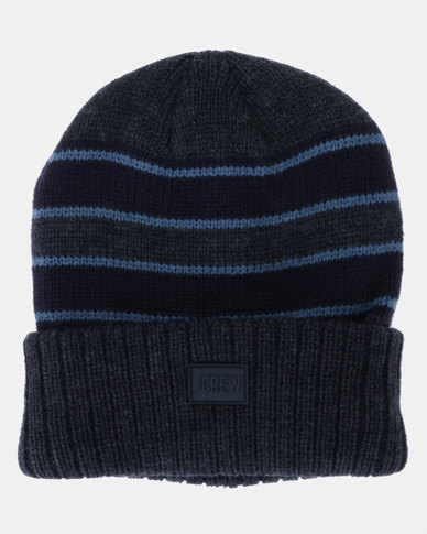 JCrew Stripe Beanie Blue