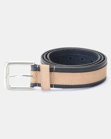 JCrew Leather Overlay Belt Navy