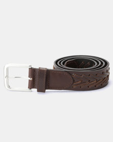 JCrew Leather Stitched Belt Chocolate