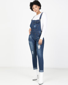 Utopia Denim Skinny Leg Dungaree Blue