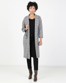 Brave Soul Long Line Check Jacket Black/White