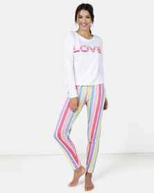 Brave Soul Long Sleeve Tee and Trouser With Multi Print
