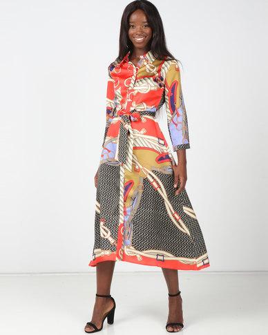 Utopia Multi Colour Scarf Print Shirt Dress