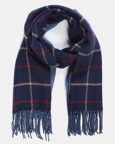 Utopia Check Scarf Navy