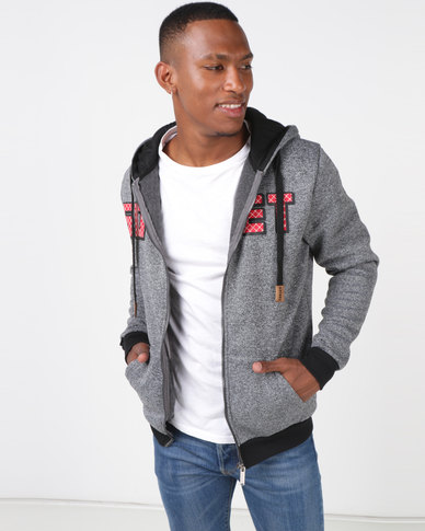 Soviet M Addison Zip Through Hoodie Charcoal Grindle