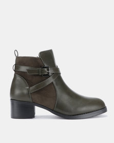 Butterfly Feet Kaelyn Ankle Boots Olive