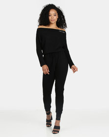 ECKO Unltd Wide Neck Jumpsuit Black