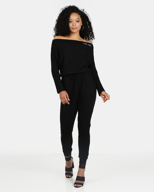4745ec106a8d3 ECKO Unltd Wide Neck Jumpsuit Black